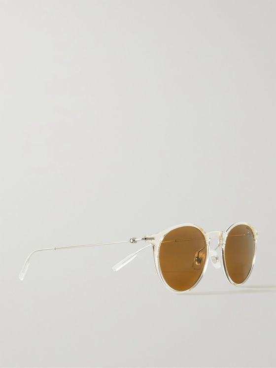 MONTBLANC Round-Frame Acetate and Silver-Tone Sunglasses