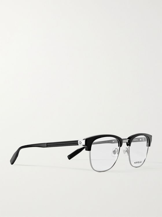 MONTBLANC D-Frame Acetate and Silver-Tone Optical Glasses