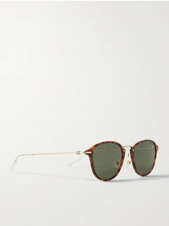 MONTBLANC Round-Frame Tortoiseshell Acetate and Gold-Tone Sunglasses
