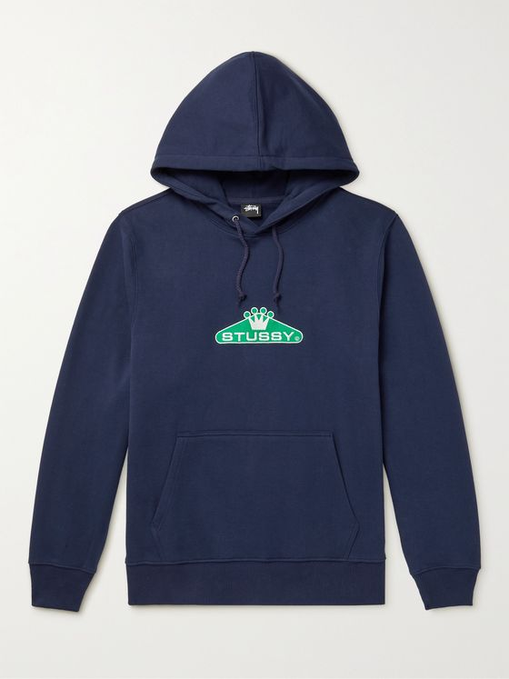 STÜSSY Embroidered Cotton-Blend Jersey Hoodie
