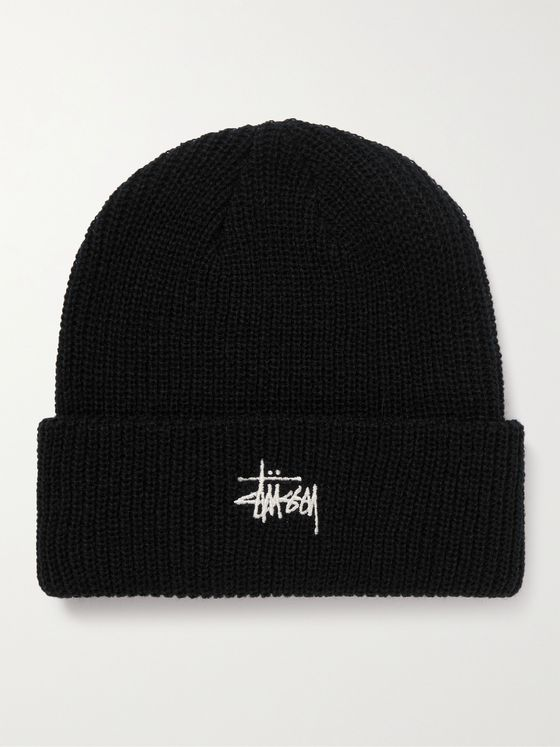 STÜSSY Logo-Embroidered Knitted Beanie