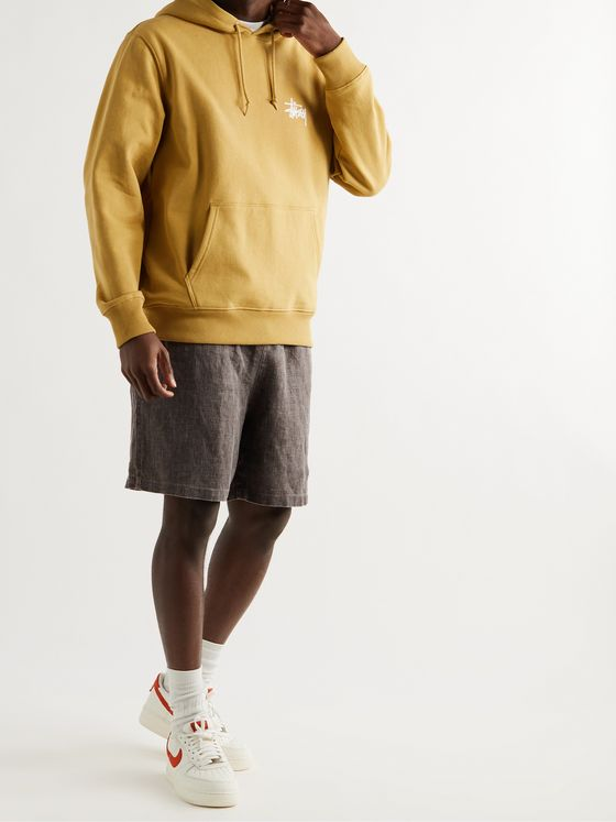 STÜSSY Wide-Leg Logo-Embroidered Slub Linen Shorts