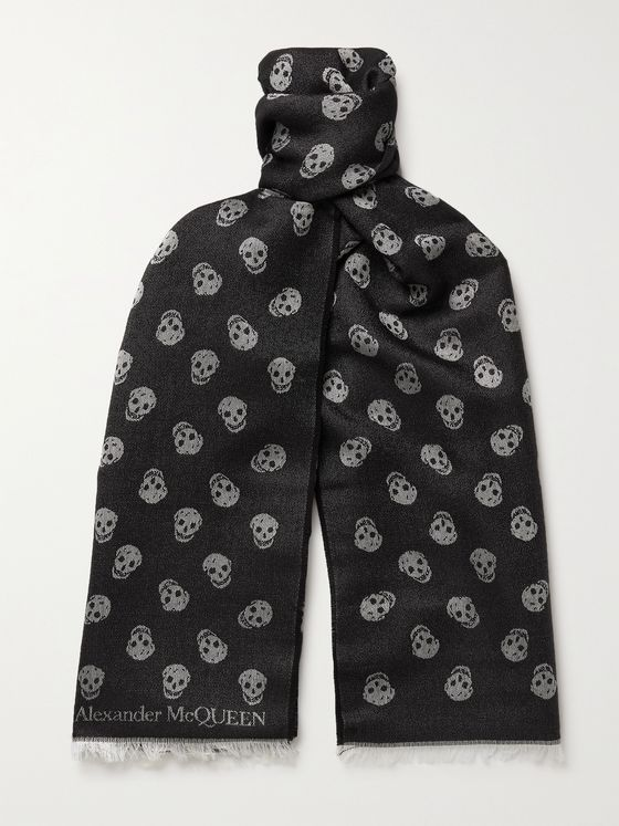 ALEXANDER MCQUEEN Fringed Wool and Silk-Blend Jacquard Scarf