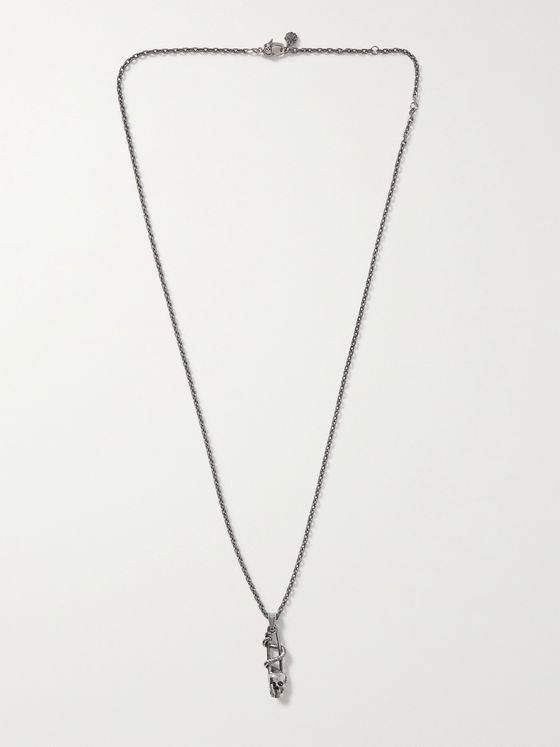 ALEXANDER MCQUEEN Burnished Silver-Tone Pendant Necklace