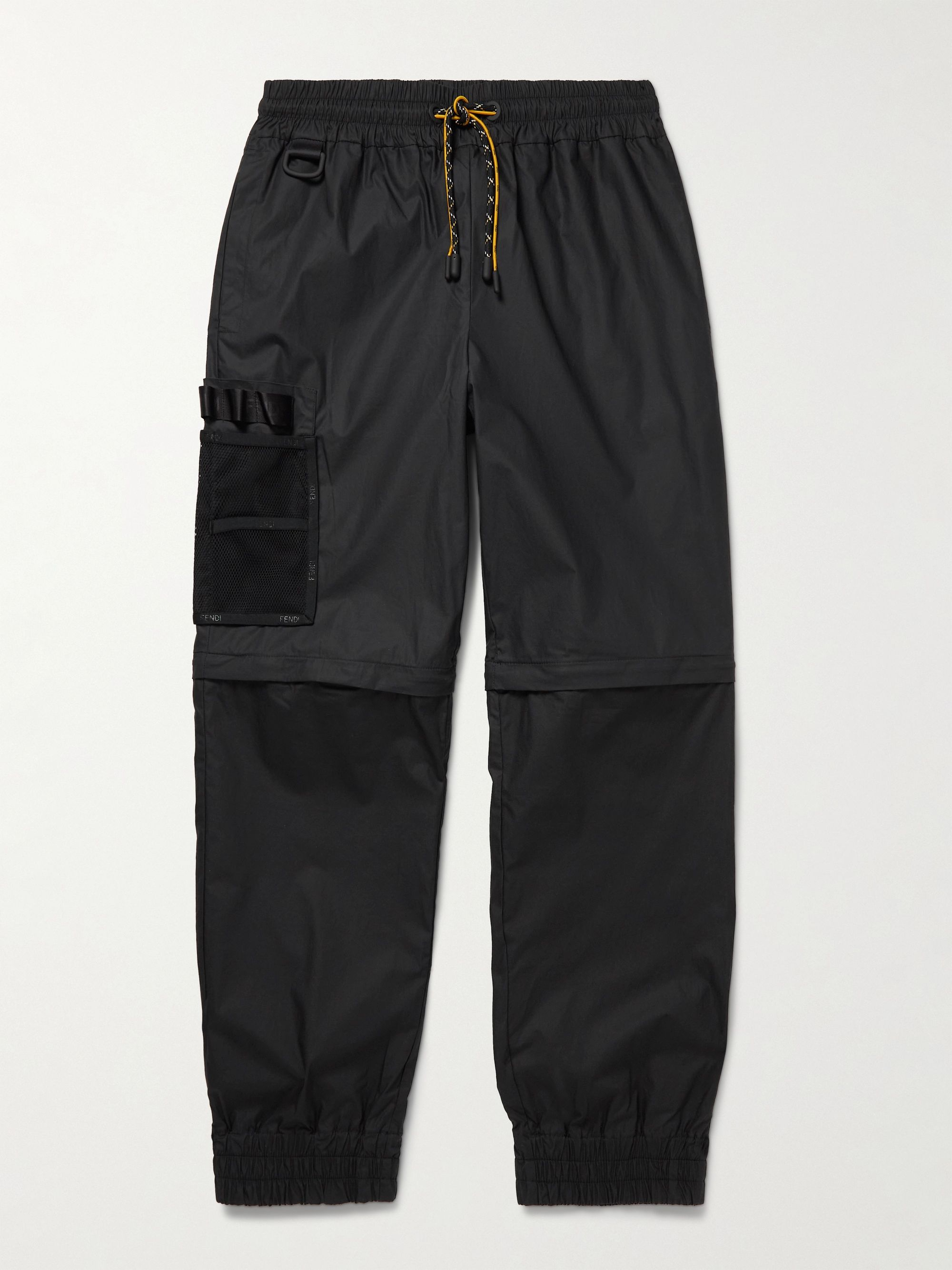 FENDI Convertible Tapered Cotton-Canvas Drawstring Cargo Trousers