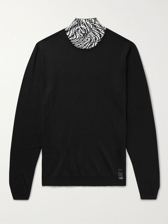 FENDI Logo-Jacquard Wool-Blend Mock-Neck Sweater