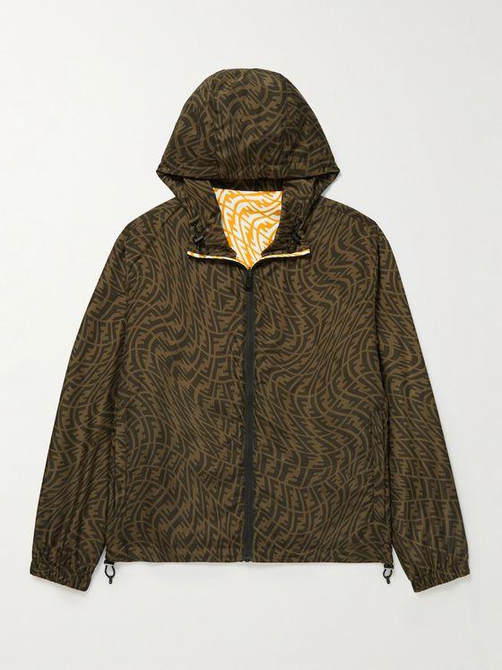 FENDI Reversible Logo-Print Shell Hooded Jacket
