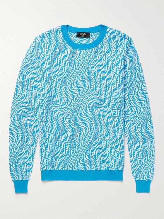 FENDI Perforated Logo-Jacquard Sweater