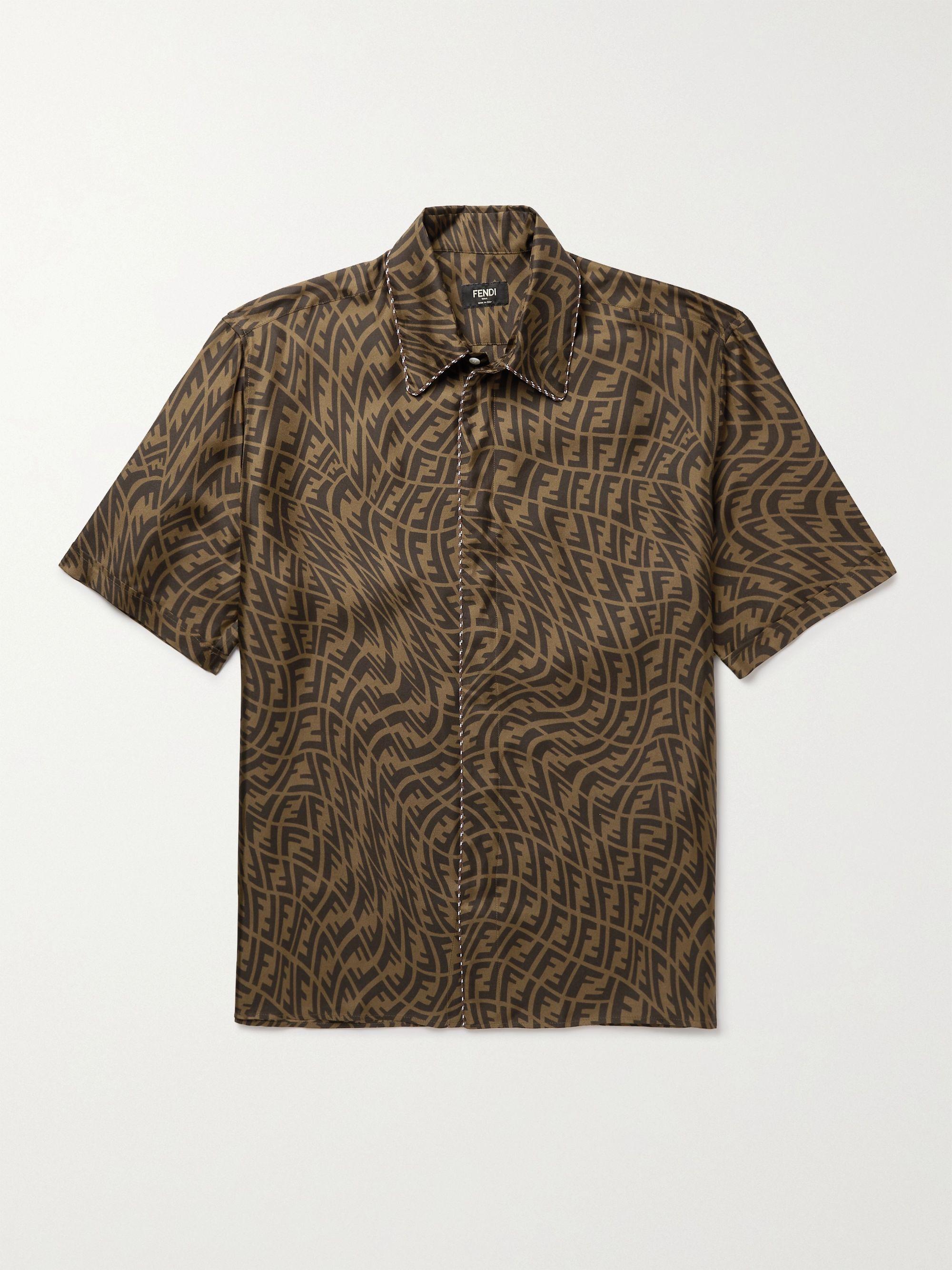 펜디 Fendi Logo-Print Silk-Twill Shirt,Brown