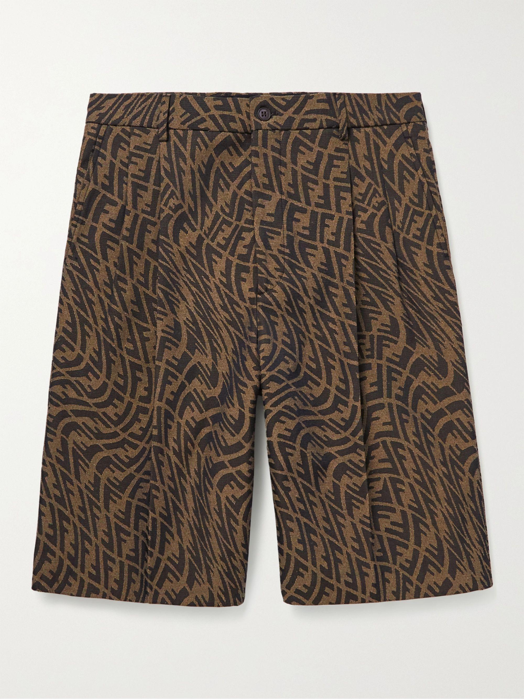 FENDI Pleated Logo-Jacquard Canvas Shorts