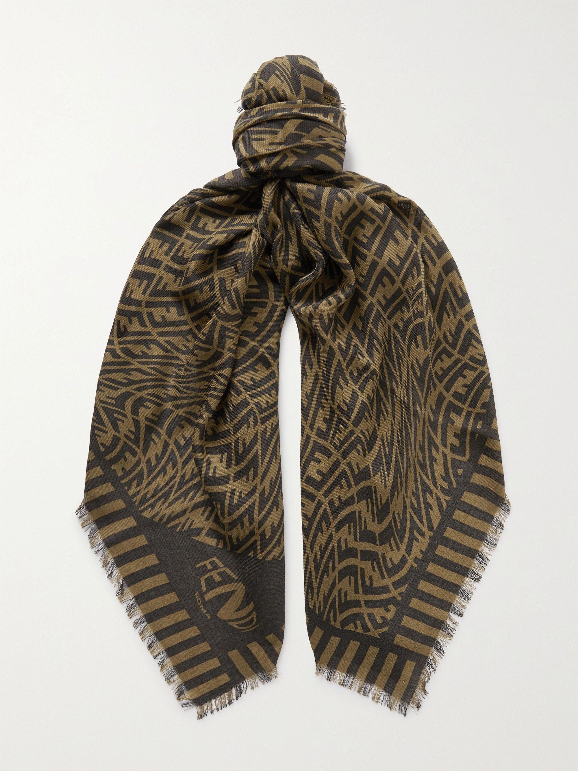 FENDI Logo-Jacquard Wool, Cashmere and Silk-Blend Scarf