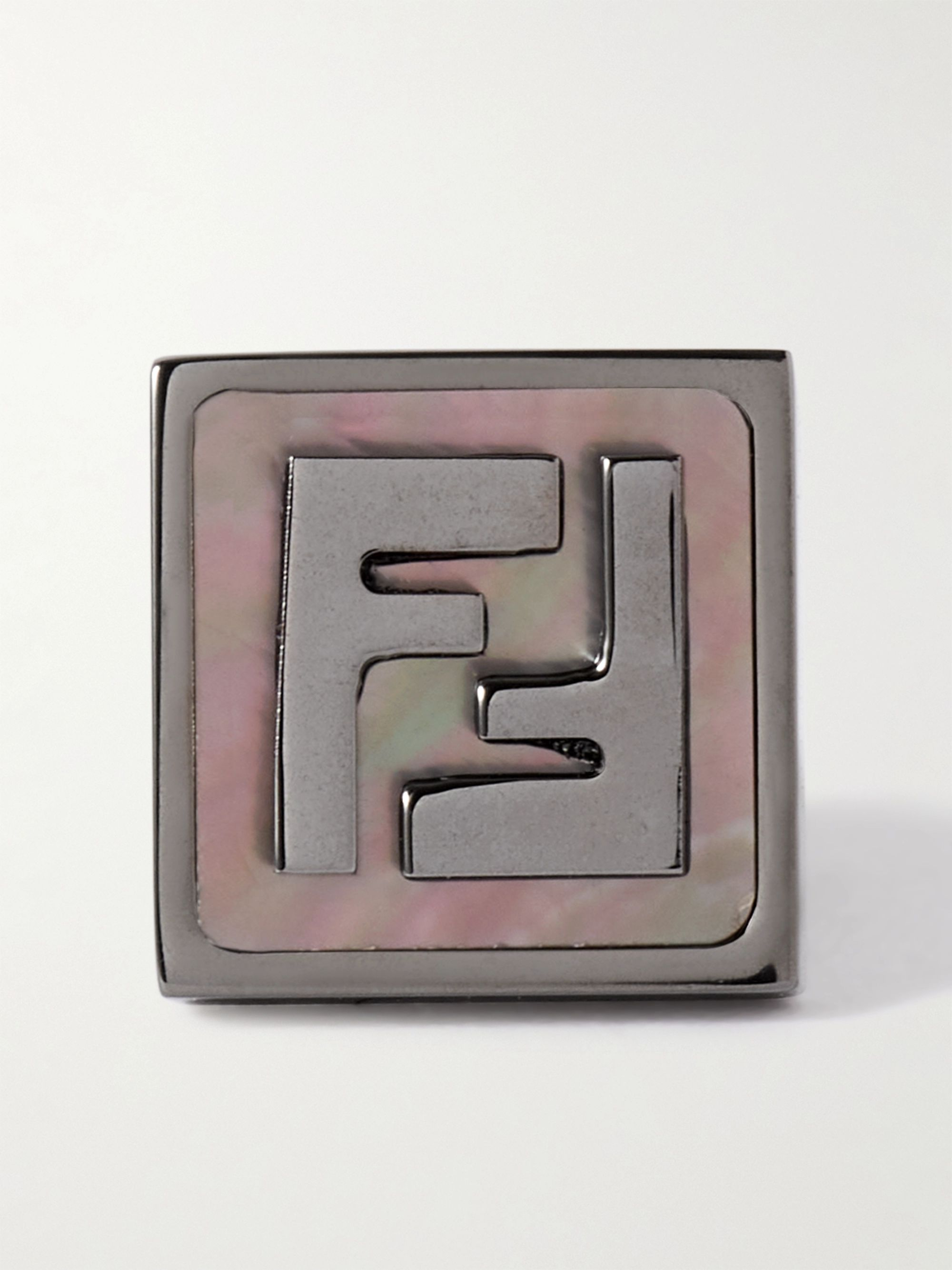 FENDI Logo-Embossed Ruthenium-Plated and Mother-of-Pearl Single Earring