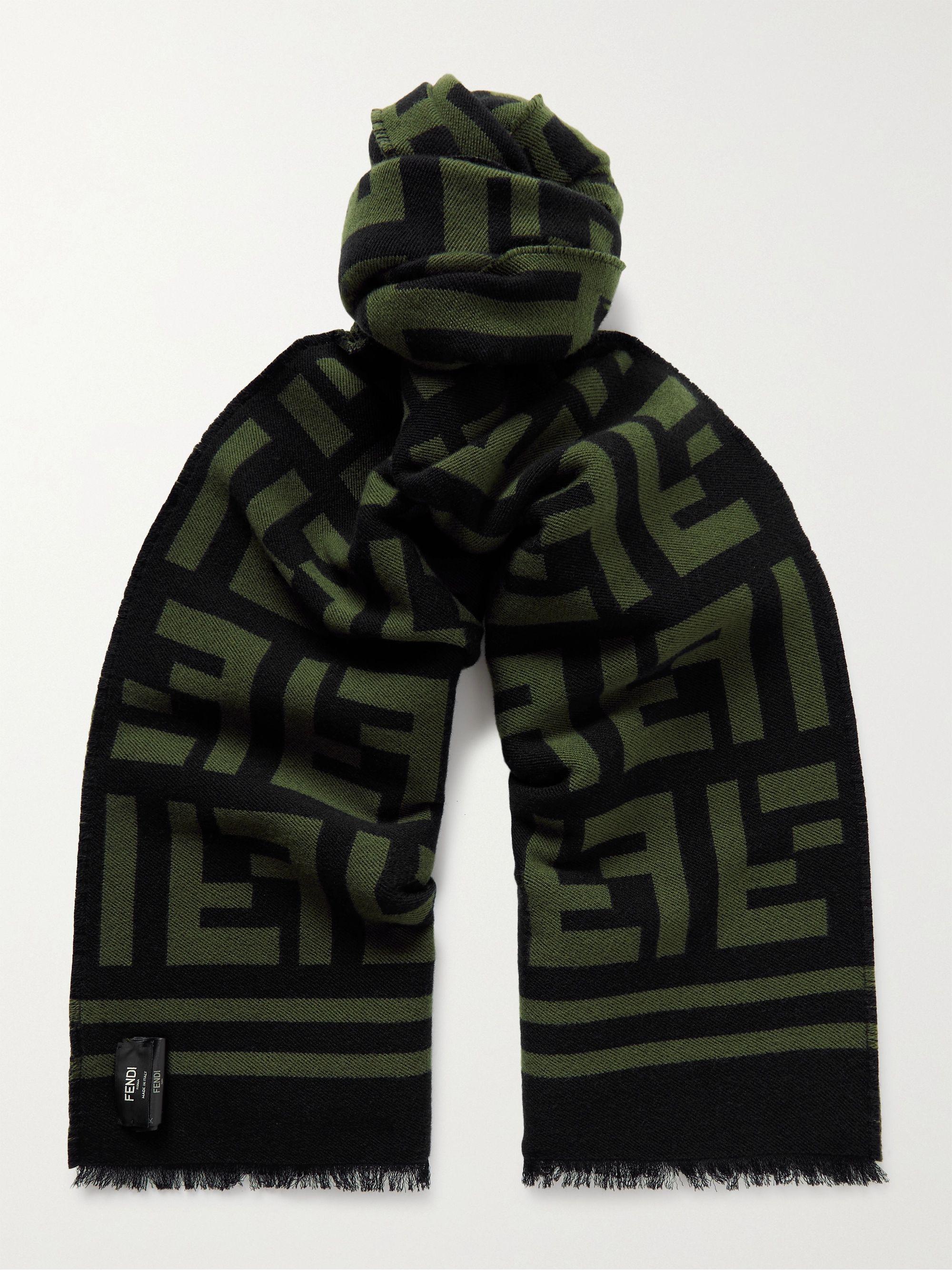 FENDI Logo-Intarsia Wool and Silk-Blend Scarf