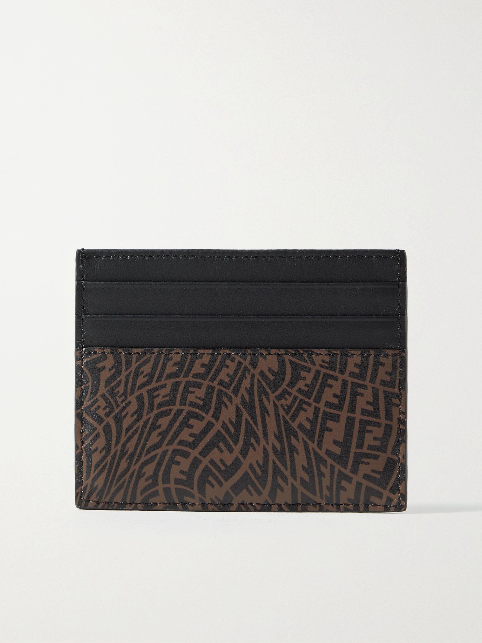 FENDI Logo-Print Leather Cardholder