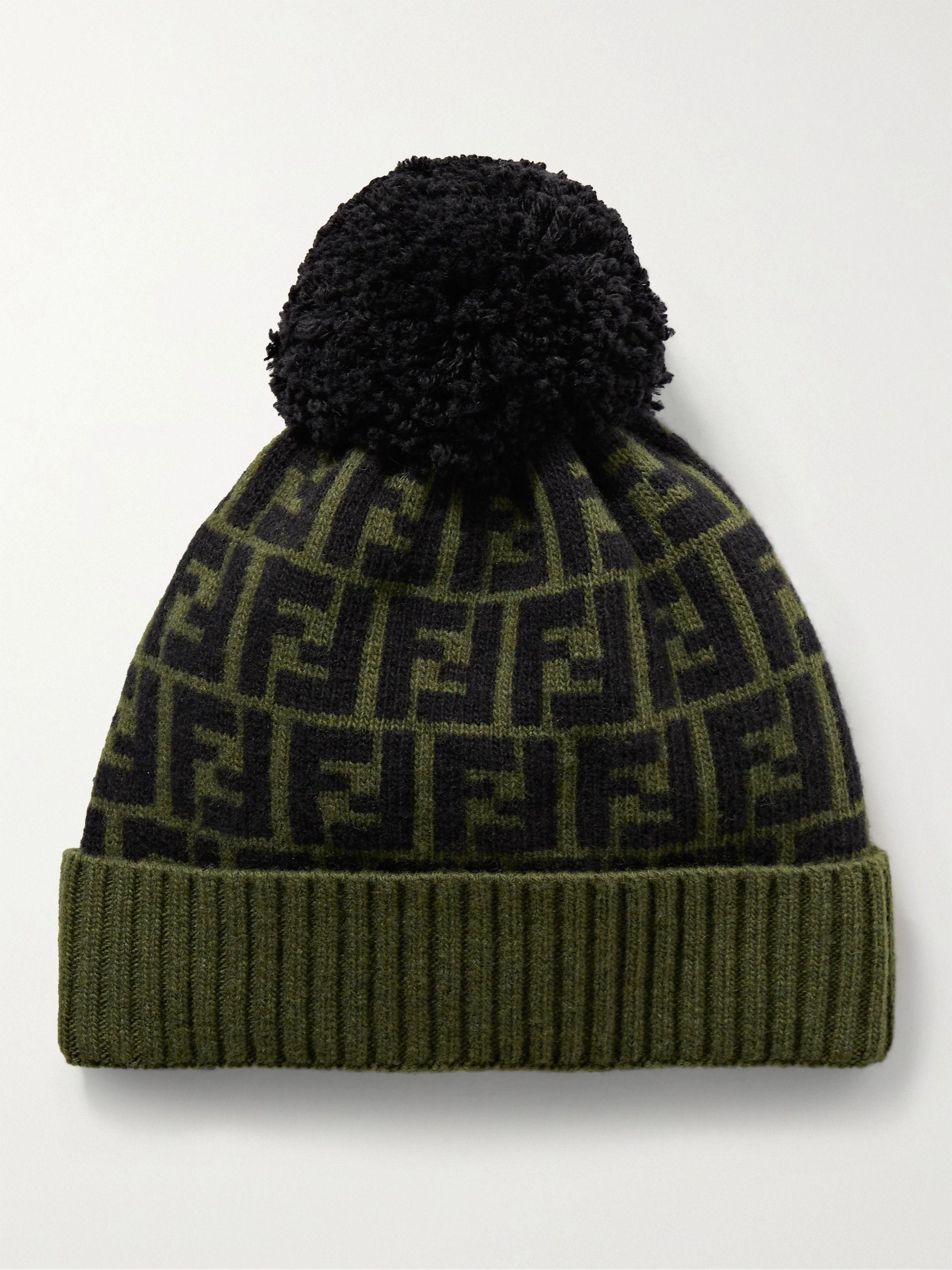 FENDI Logo-Jacquard Wool Beanie