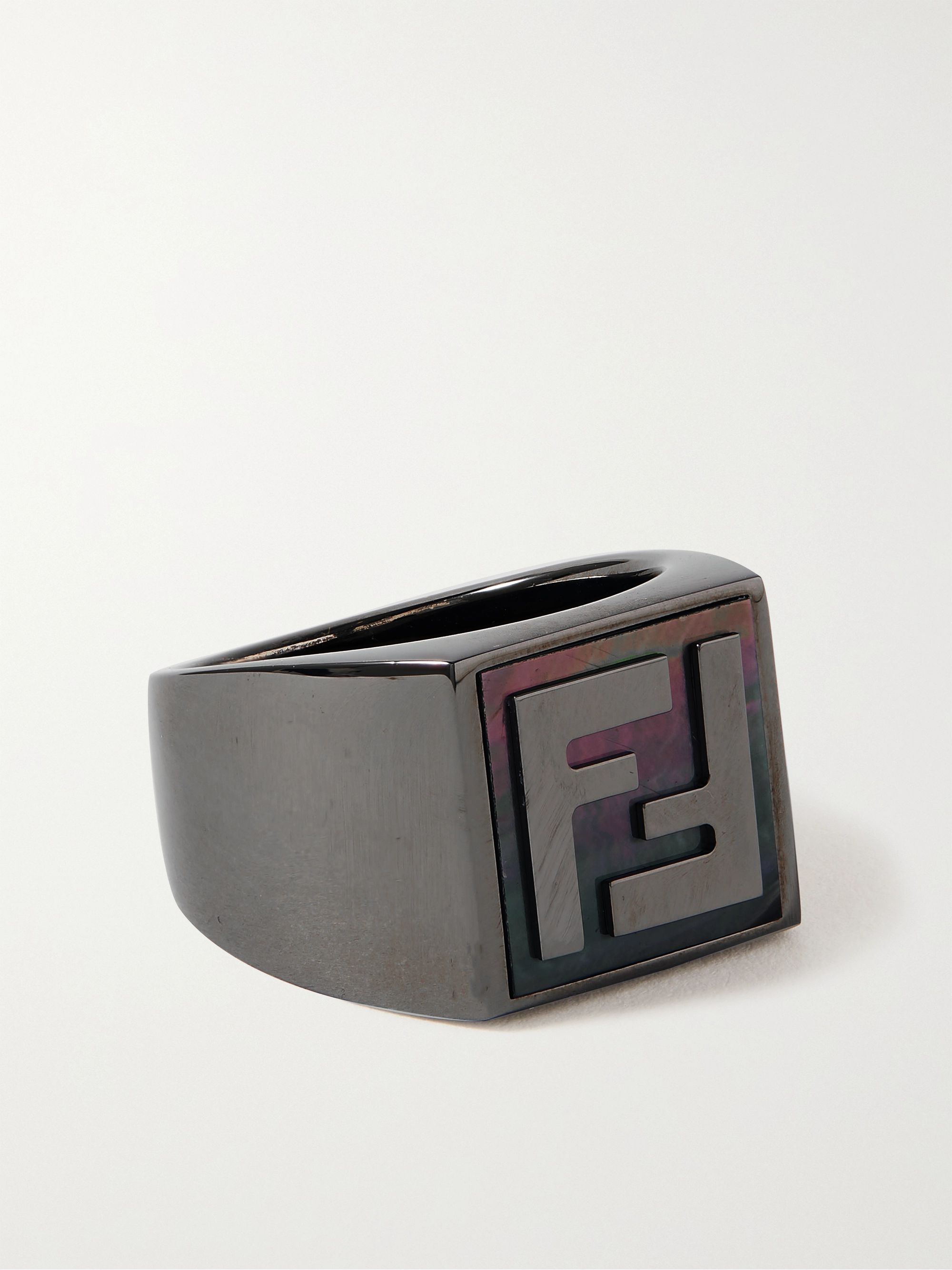 FENDI Logo-Detailed Ruthenium-Tone and Mother-of-Pearl Signet Ring