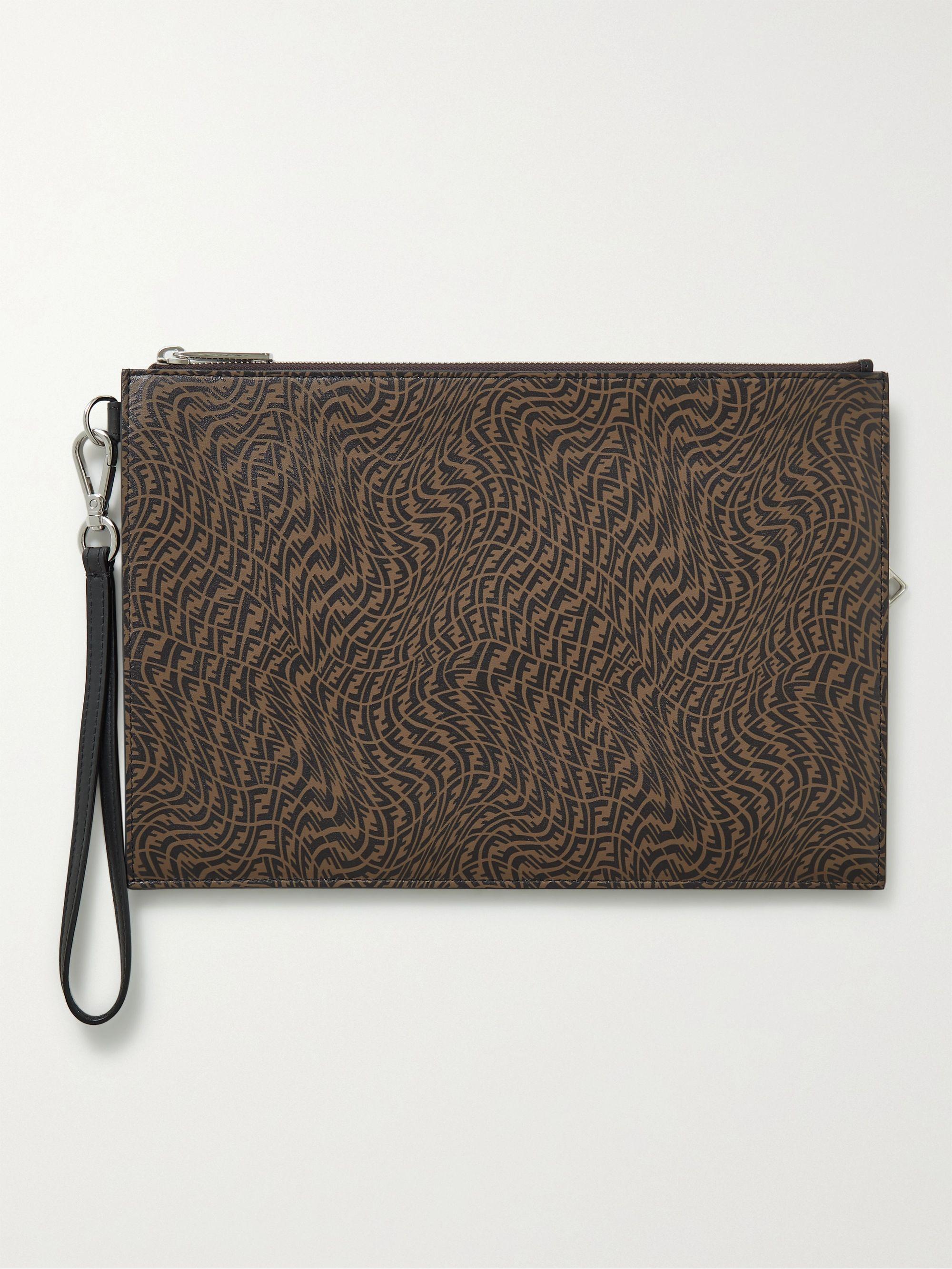 FENDI Logo-Print Textured-Leather Pouch