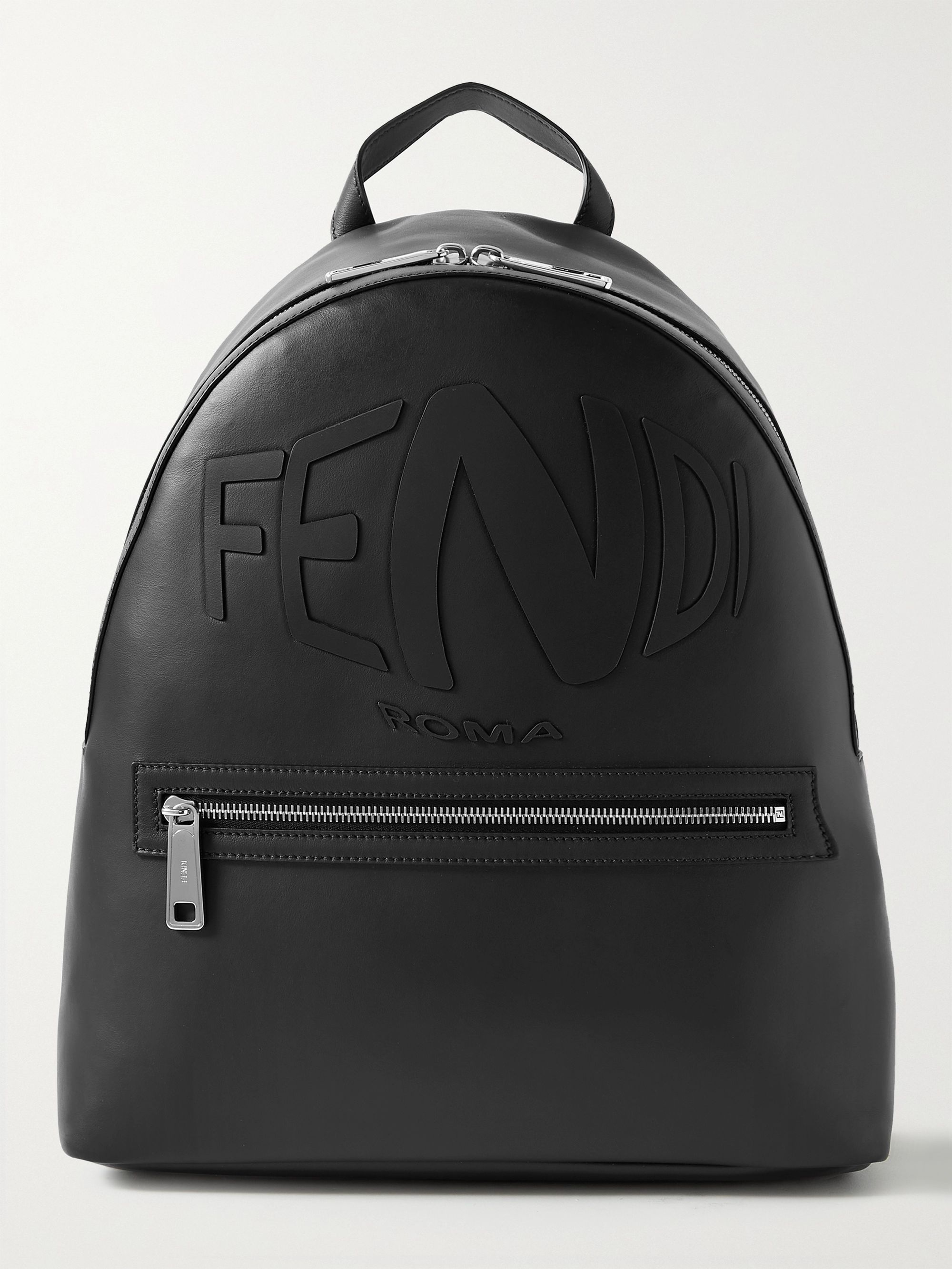 FENDI Logo-Embossed Leather and Mesh Backpack