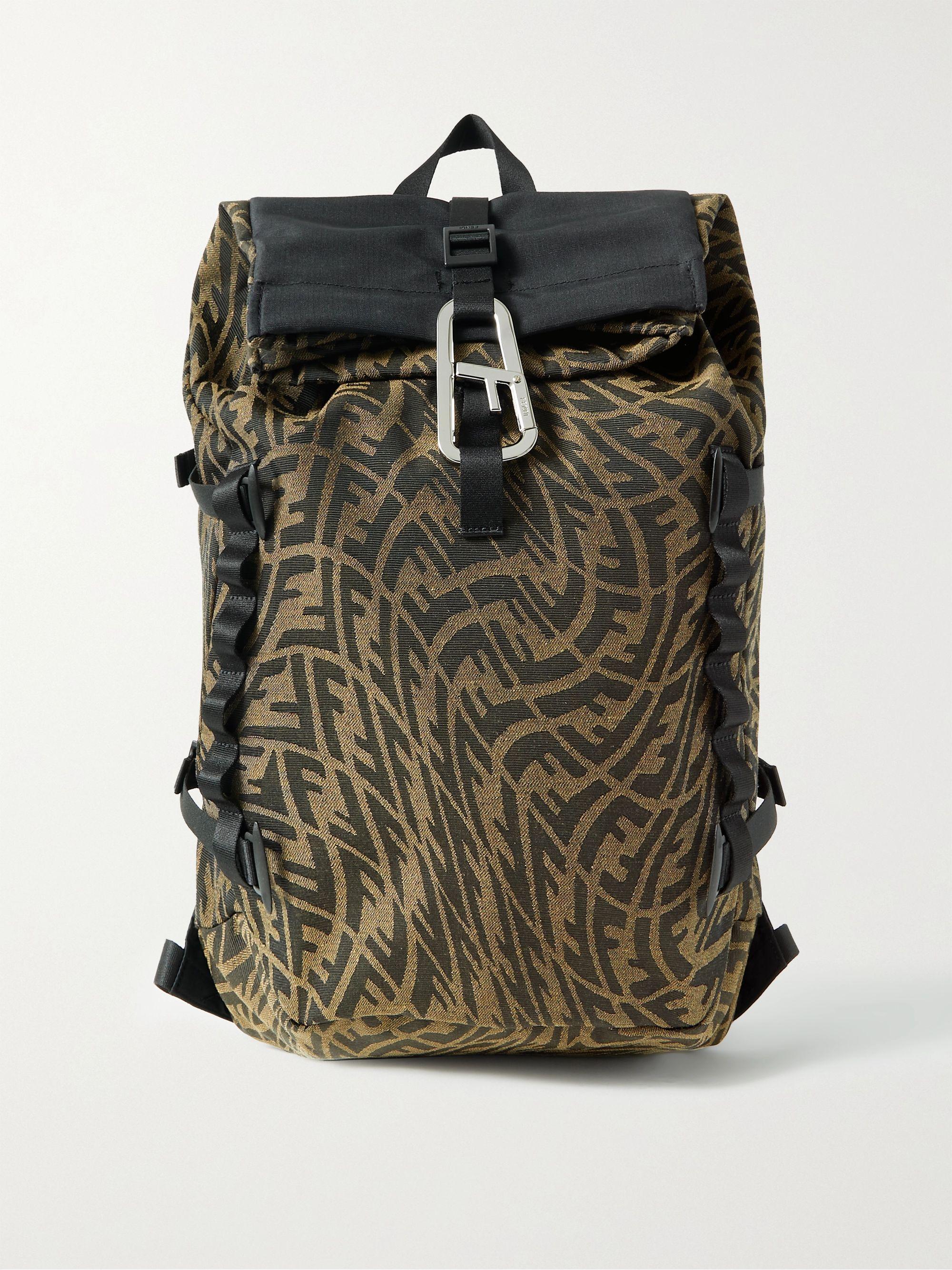 FENDI FERRINO Ripstop-Trimmed Logo-Jacquard Canvas Backpack