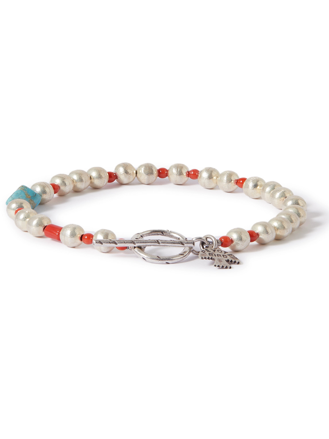 peyote bird - burnished sterling silver, turquoise and coral bracelet - men - silver