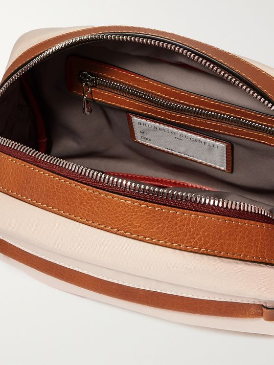 BRUNELLO CUCINELLI Leather-Trimmed Nylon Wash Bag