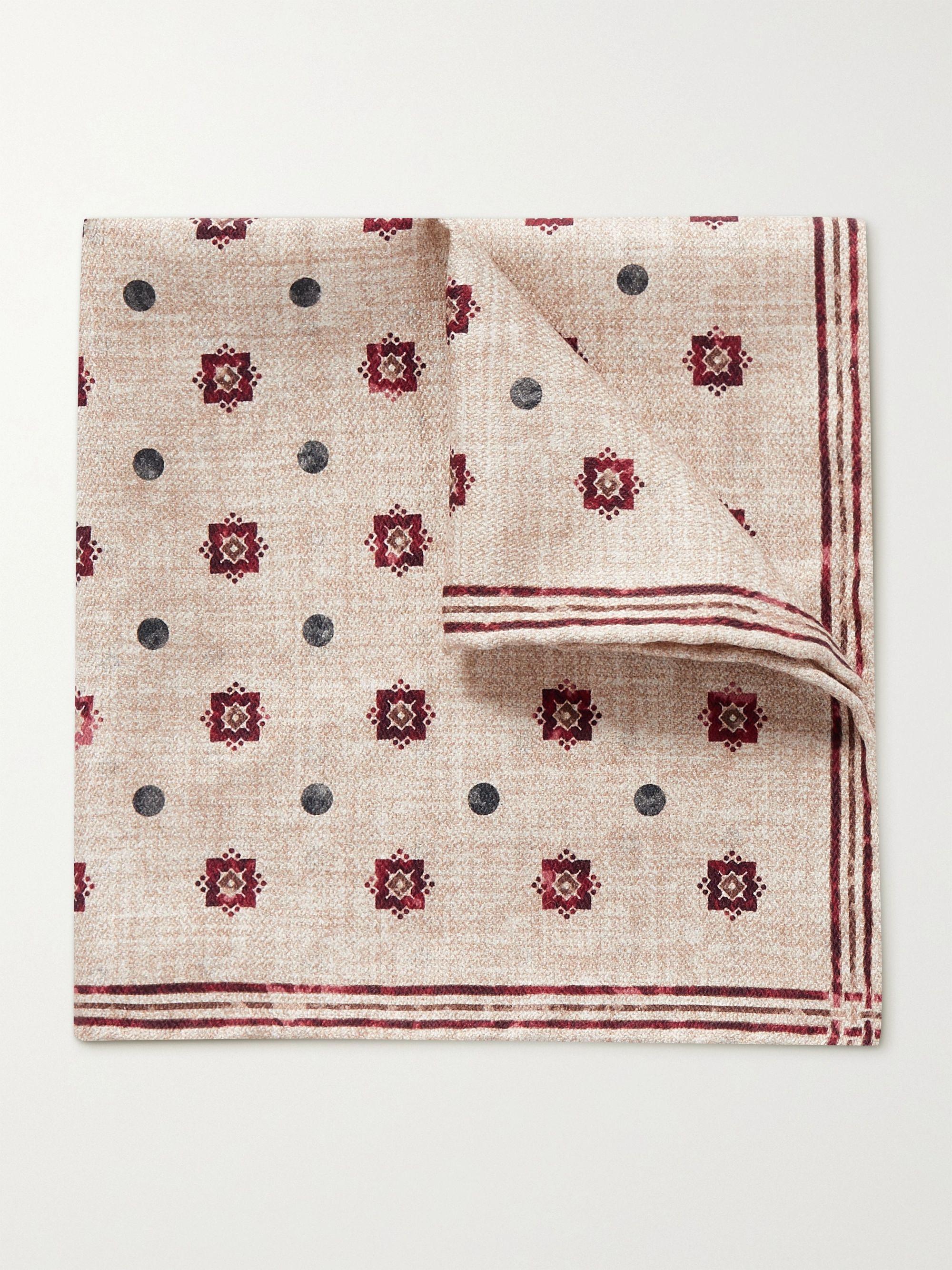 브루넬로 쿠치넬리 포켓 스퀘어 Brunello Cucinelli Reversible Printed Silk Pocket Square,Sand