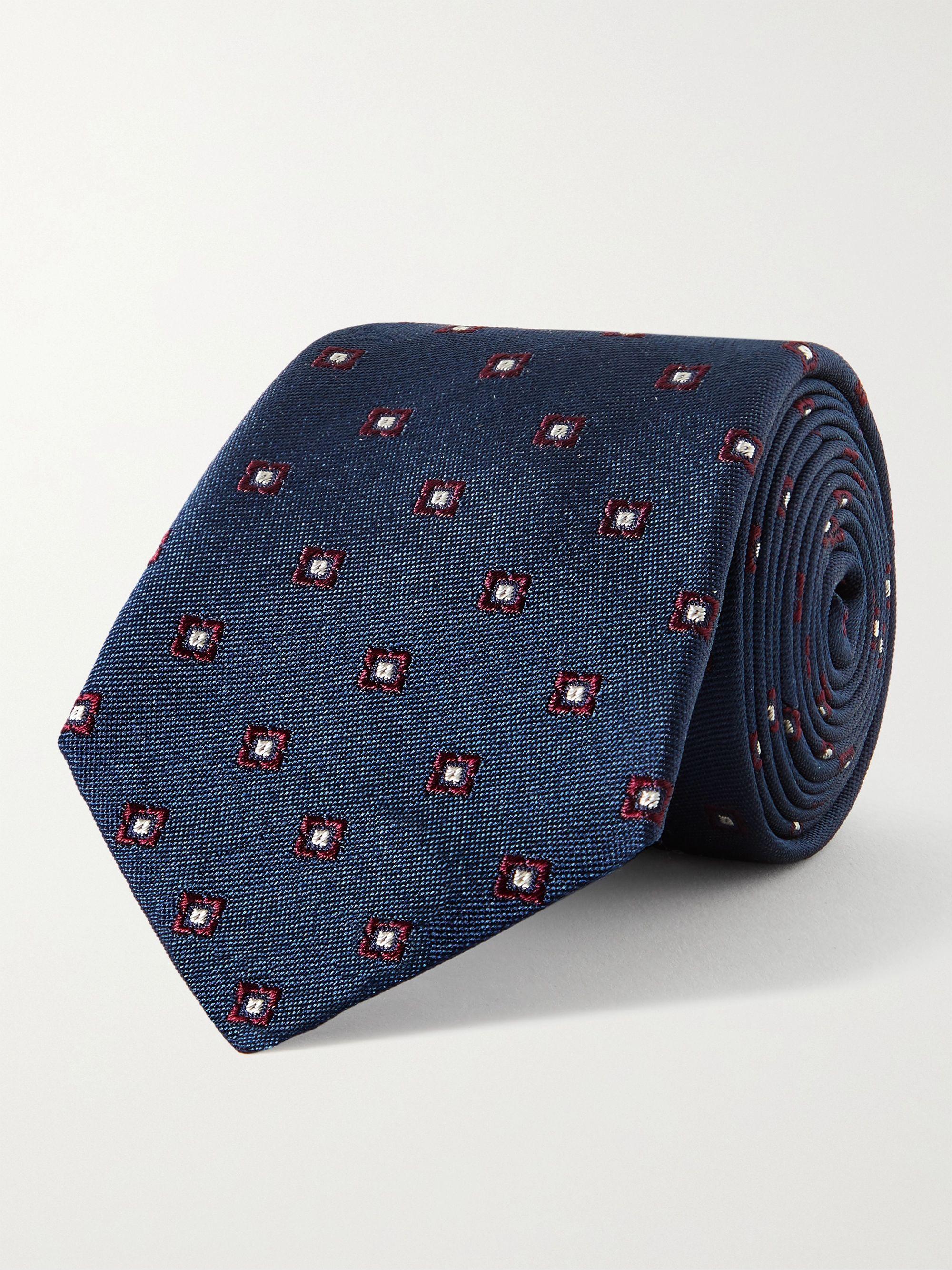 브루넬로 쿠치넬리 넥타이 Brunello Cucinelli 7cm Silk-Jacquard Tie,Navy