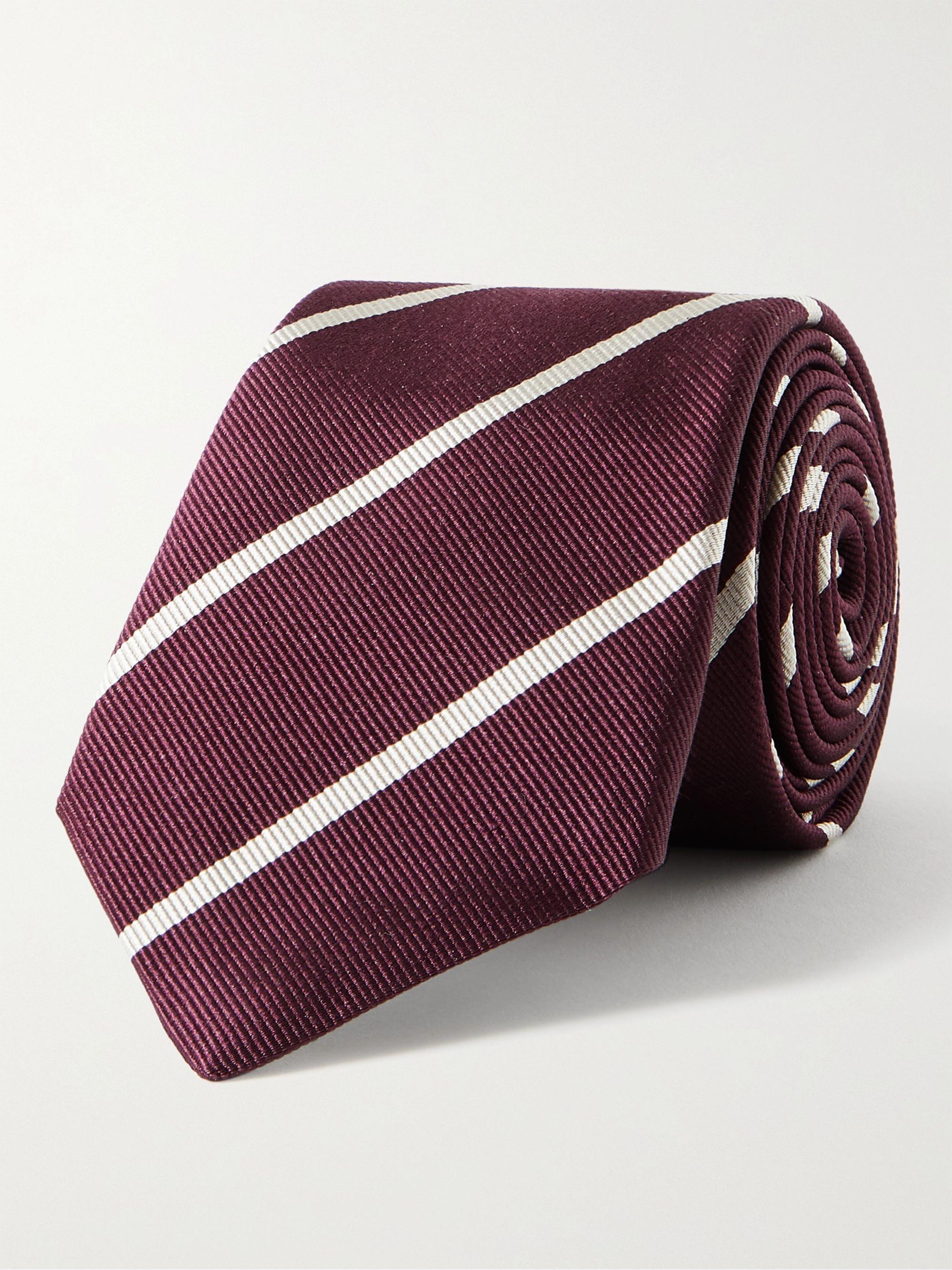 브루넬로 쿠치넬리 넥타이 Brunello Cucinelli 7cm Striped Silk-Jacquard Tie,Red