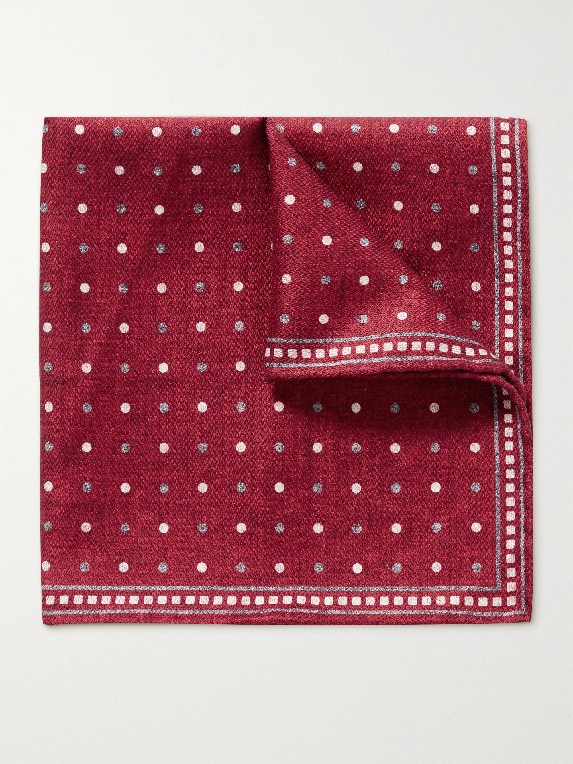 브루넬로 쿠치넬리 포켓 스퀘어 Brunello Cucinelli Reversible Printed Silk Pocket Square,Red