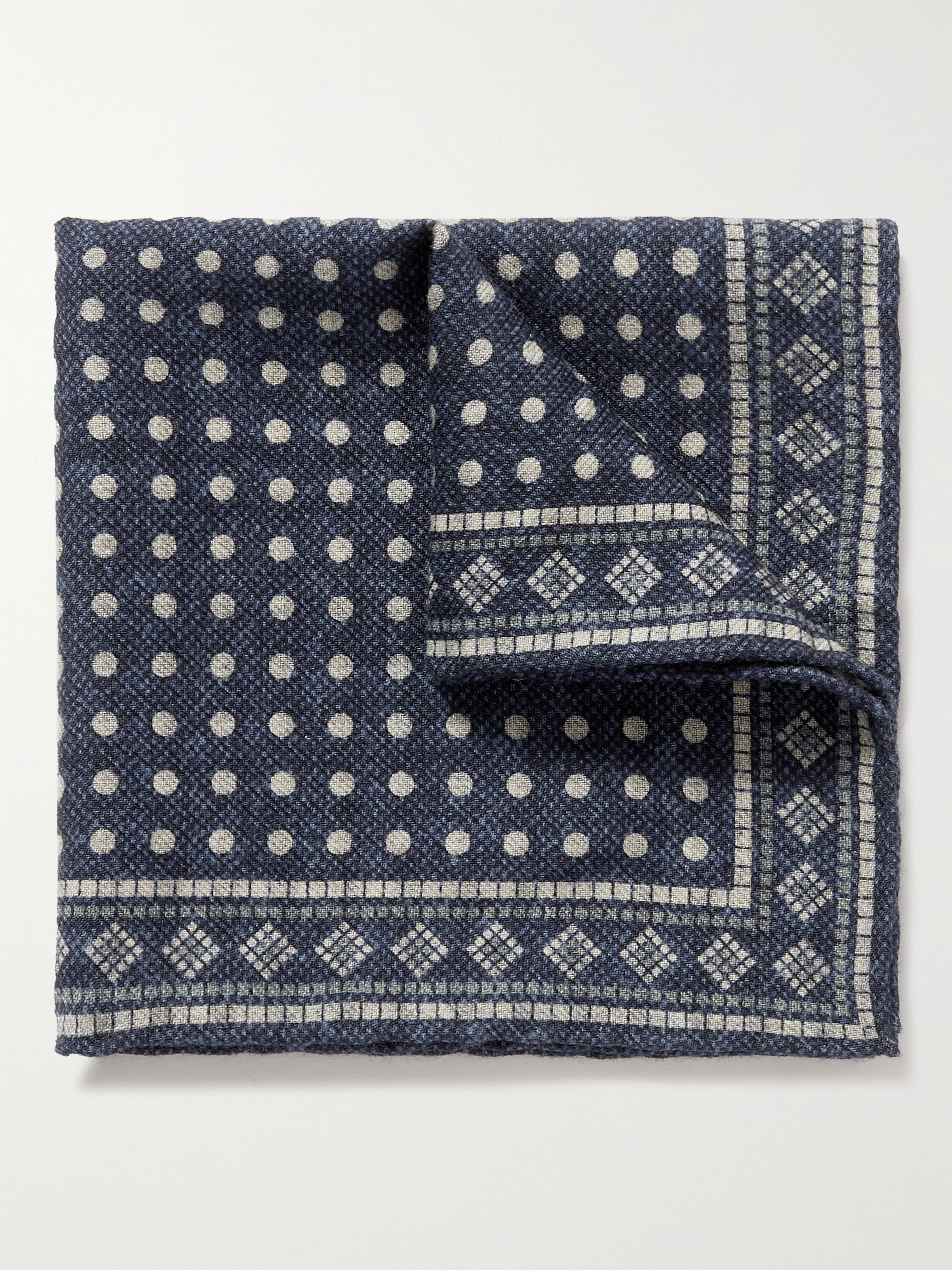 브루넬로 쿠치넬리 포켓 스퀘어 Brunello Cucinelli Reversible Printed Wool Pocket Square,Gray
