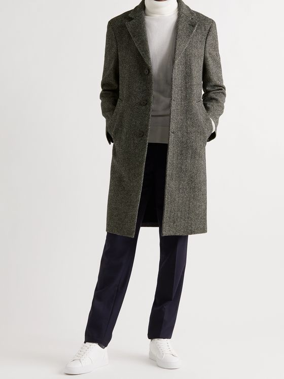 OFFICINE GÉNÉRALE Jack Herringbone Virgin Wool Coat