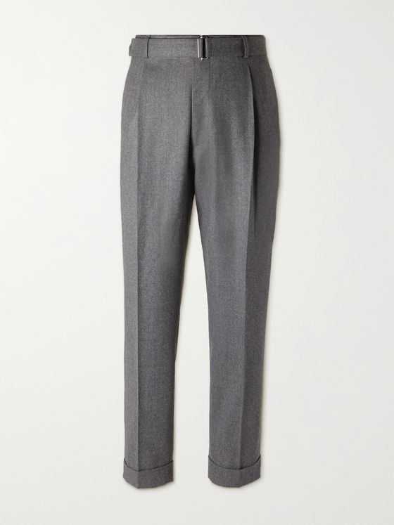 OFFICINE GÉNÉRALE Hugo Belted Pleated Virgin Wool-Flannel Trousers