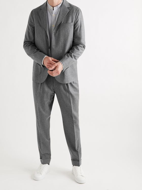 OFFICINE GÉNÉRALE Armie Pinstriped Wool-Flannel Suit Jacket
