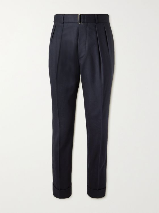 OFFICINE GÉNÉRALE Pierre Pleated Wool-Flannel Trousers