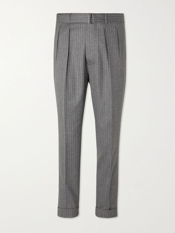 OFFICINE GÉNÉRALE Pierre Tapered Pleated Pinstriped Wool-Flannel Suit Trousers