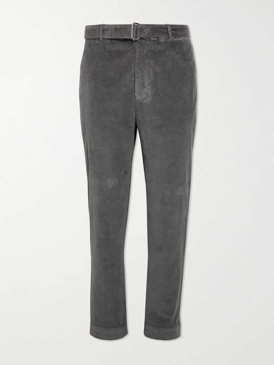 OFFICINE GÉNÉRALE Owen Tapered Belted Cotton-Blend Corduroy Trousers
