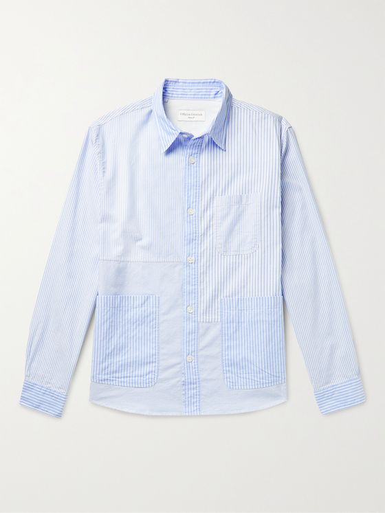 OFFICINE GÉNÉRALE Tony Patchwork Striped Cotton Oxford Shirt