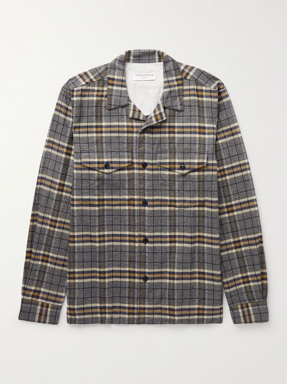 OFFICINE GÉNÉRALE Jonas Camp-Collar Checked Brushed Cotton-Flannel Shirt