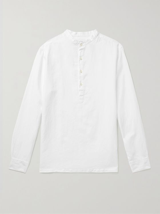 OFFICINE GÉNÉRALE Robinson Grandad-Collar Cotton and Linen-Blend Half-Placket Shirt