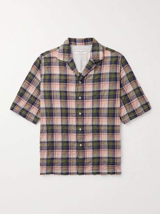 OFFICINE GÉNÉRALE Eren Camp-Collar Checked Cotton-Blend Shirt