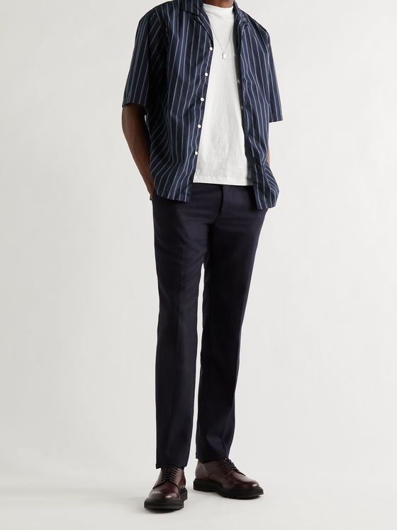 OFFICINE GÉNÉRALE Eren Camp-Collar Striped Cotton-Poplin Shirt