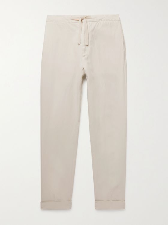 OFFICINE GÉNÉRALE Joseph Lyocell, Linen and Cotton-Blend Drawstring Trousers