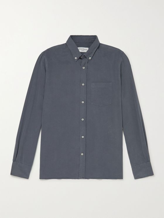 OFFICINE GÉNÉRALE Arsene Button-Down Collar Garment-Dyed Lyocell Shirt