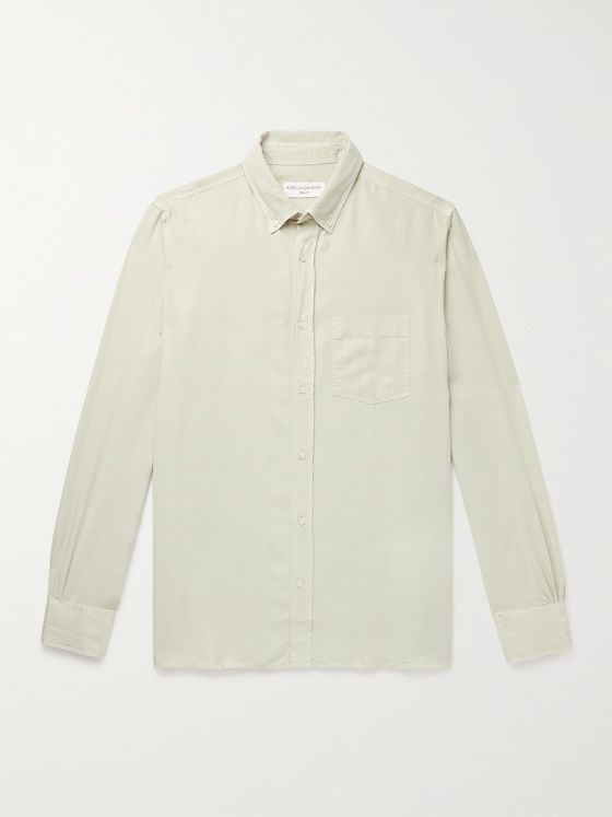 OFFICINE GÉNÉRALE Button-Down Garment-Dyed Lyocell-Twill Shirt