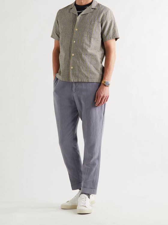 OFFICINE GÉNÉRALE Joseph Garment-Dyed Lyocell, Linen and Cotton-Blend Drawstring Trousers