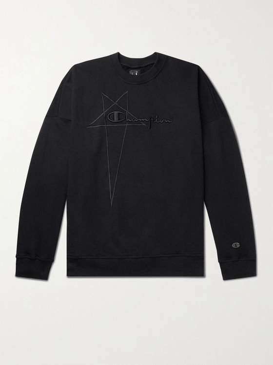 RICK OWENS + Champion Logo-Embroidered Organic Loopback Cotton-Jersey Sweatshirt