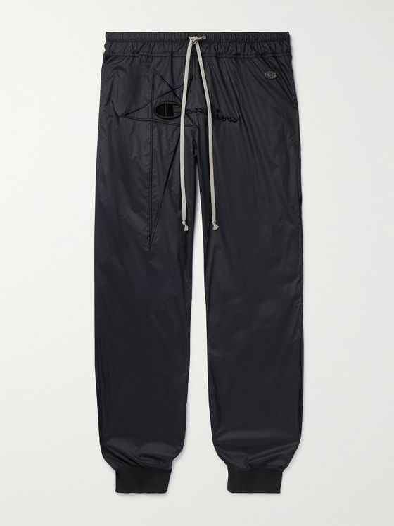 RICK OWENS + Champion Tapered Logo-Embroidered Recycled Shell Sweatpants