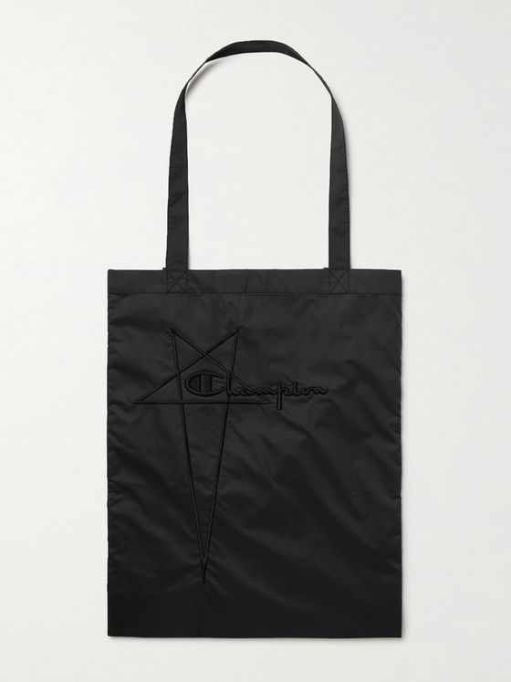 RICK OWENS + Champion Logo-Embroidered Recycled Nylon Tote Bag