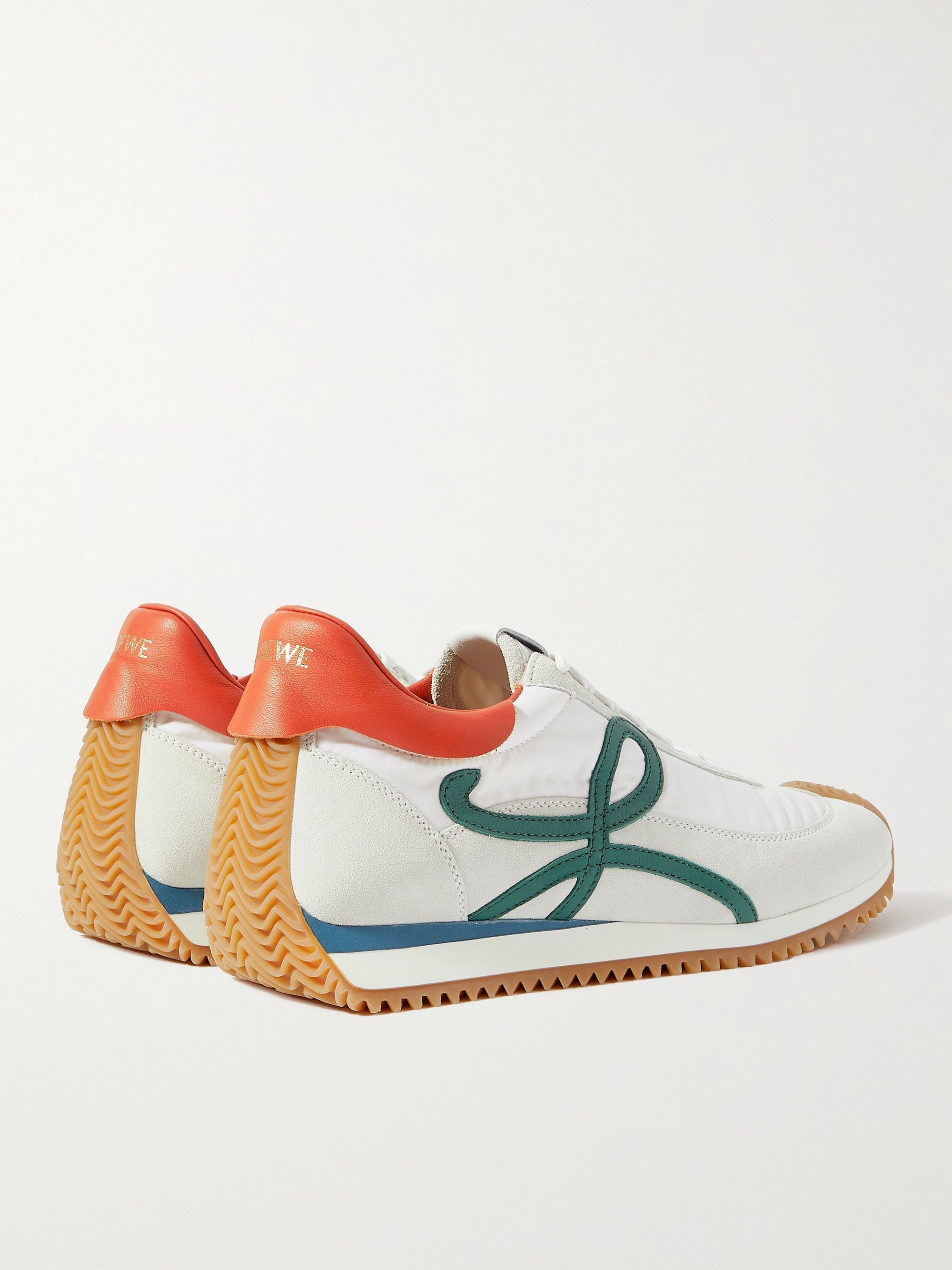 LOEWE + Paula's Ibiza Flow Runner Leather-Trimmed Nylon and Suede Sneakers