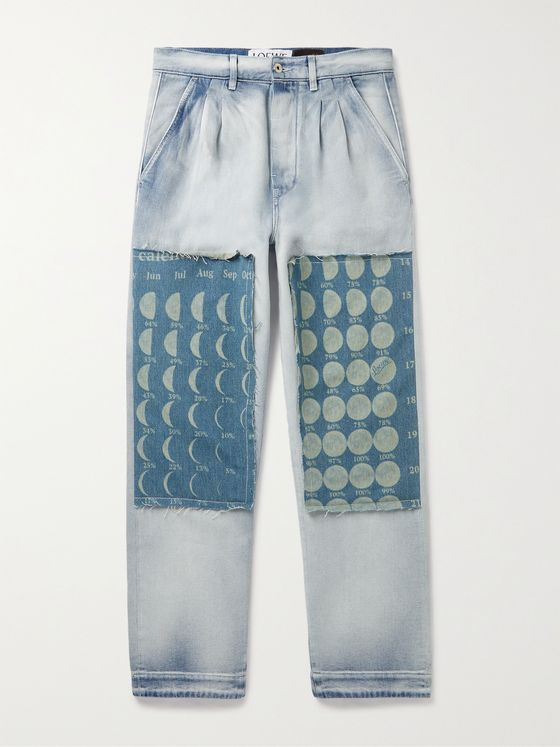 LOEWE + Paula's Ibiza Pleated Patchwork Denim Jeans